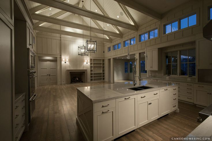 Cameo Homes Open concept, monochromatic, wood paneled cathedral ceilings, Gray/white quartzite countertops.