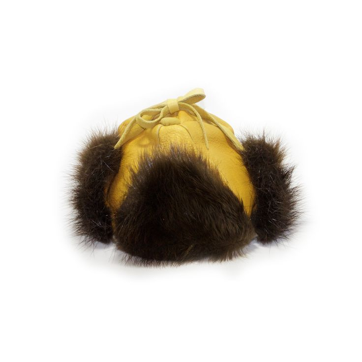 Women's Small or Children's Large Moose Hide and Beaver Fur Winter Hat - Kitigan