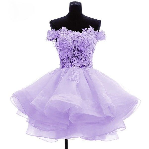 Purple short poofy dresses fashion