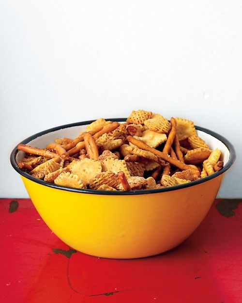 Chesapeake Bay snack mix -  someone in my office makes this (with oyster crackers only) and it is always a hit.