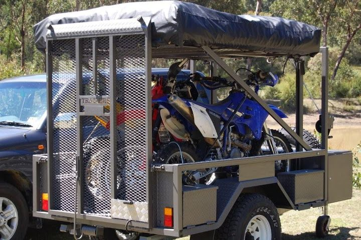Motorbike Camper Trailer with Tent and 3 Dirt Bikes
