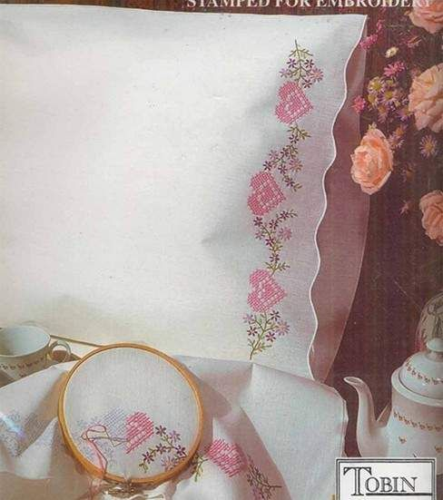 Tobin Stamped Pillow Case Pair Floral Hearts