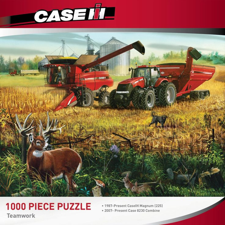 "Case IH Collection > 1987 - Present Case IH Magnum (225) > 2007 - Present Case 8230 Combine Piece Count 1000 Pieces Puzzle Size 19.25"" x 26.75"" (49 x 68 cm) Age 13+ Theme Farms / Tractors / Animals Ma"