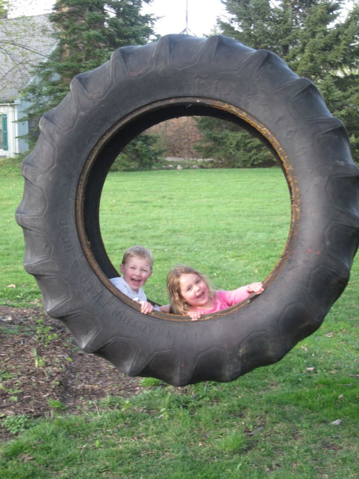 104 best images about re using old tires for playgrounds for Tyre swing ideas