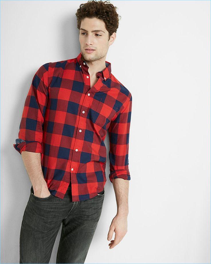 Express Red Buffalo Check Men's Shirt
