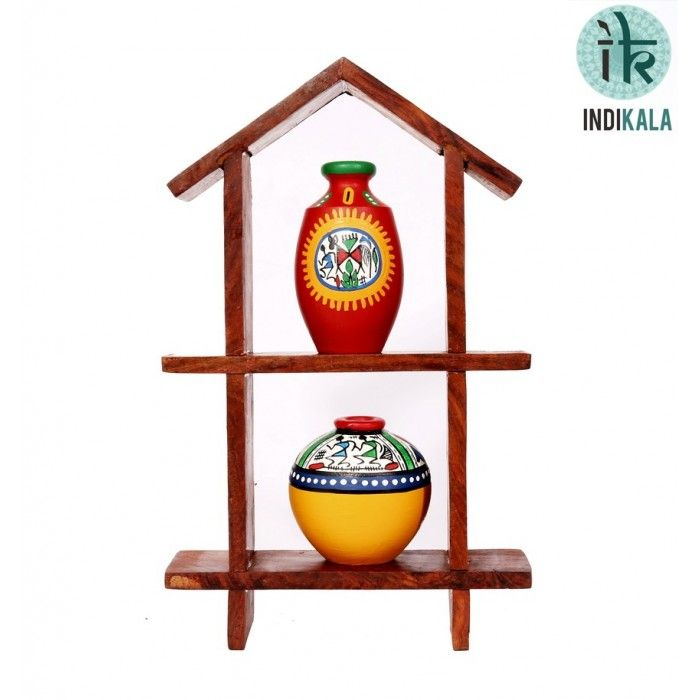 Name : Hut Shaped Frame with Two Elegant Pots Price : Rs 699 Buy Now at : http://www.indikala.com/house-shaped-wall-unit-with-two-elegant-pots.html #Handmade #Handicraft #Pots