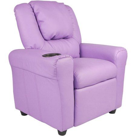 Flash Furniture Kids' Vinyl Recliner with Cupholder and Headrest, Multiple Colors, Purple