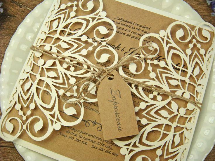 rustykalne zaproszenia na ślub z kolekcji Dolores wzór 59     Zaproszenia ślubne laserowe, kartki 3D