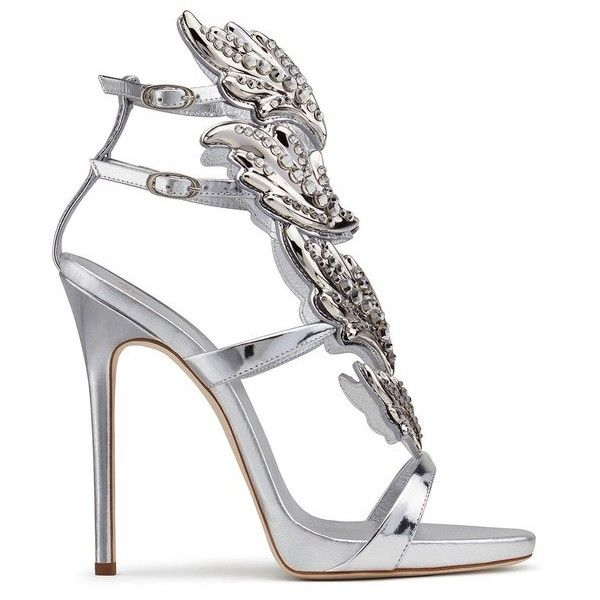 Giuseppe Zanotti Cruel ($2,125) ❤ liked on Polyvore featuring shoes, sandals, high heels, silver, high heel platform sandals, leather sole sandals, ankle strap high heel sandals, leather shoes and giuseppe zanotti sandals