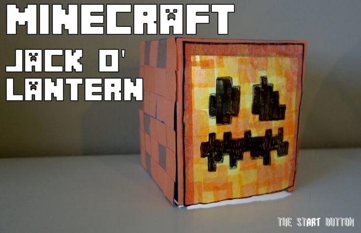 Minecraft Jack O' Lantern, Halloween crafts for kids