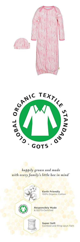 Burt's Bees Baby Baby Organic Gown and Cap Set, Waterlily Woodgrain, Single