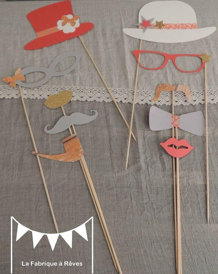 Lot 10 pièces photobooth corail pêche abricot orange doré gris mariage moustache bouche lunettes pipe - anniversaire fête baptême baby shower : Autres papeterie par la-fabrique-a-reves