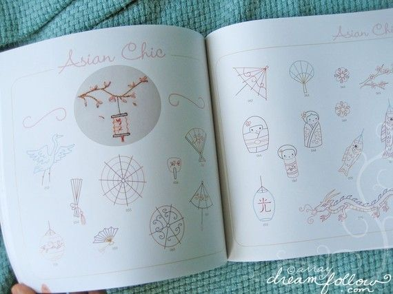 A peek inside 'Doodle Stitching The Motif Collection' book by Aimee Ray. The book, which includes a CD of patterns, costs $14.95