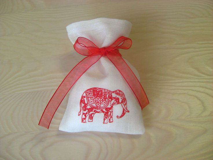 Set of 10 Natural Linen Small Bags For Gift Patterned Elephant Red, Wedding Favor Bags, Gift Bags, Rustic Wedding Favors by BoutiqueSweetFloret on Etsy