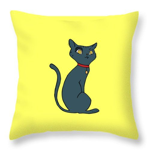 """Blue Cat Throw Pillow (14"""" x 14"""") by Erjan Sert.  Our throw pillows are made from 100% cotton fabric and add a stylish statement to any room.  Pillows are available in sizes from 14"""" x 14"""" up to 26"""" x 26"""".  Each pillow is printed on both sides (same image) and includes a concealed zipper and removable insert (if selected) for easy cleaning."""
