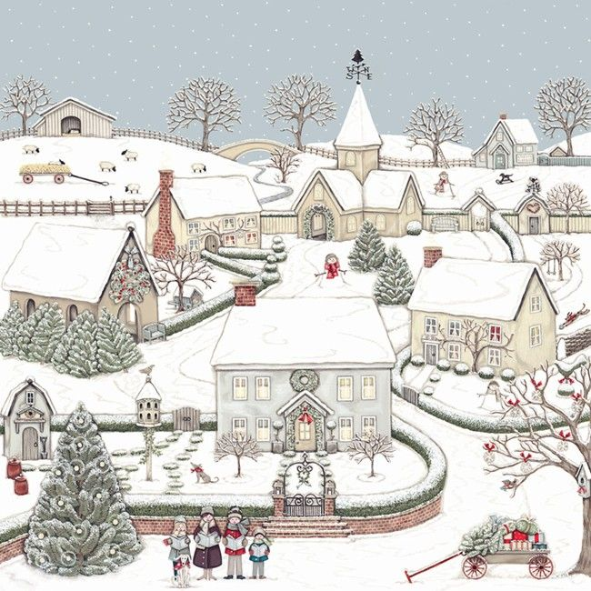 Christmas » Snowy Village Cards - Pack of 8 » Snowy Village Cards - Pack of 8 - Sally Swannell