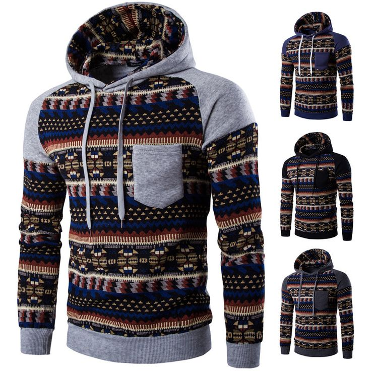 Raglan Sleeve Tribal Print Hoodie Men's - Hoodies - eDealRetail - 1