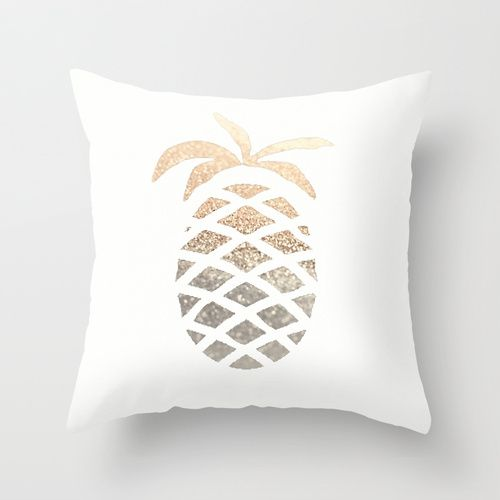 "GOLD PINEAPPLE by Monika Strigel Throw Pillow / Indoor Cover (16"" x 16"") $20.00 #gold #glitter #print #pineapple #hawaii #summer #ombre #grey #white #elegant #pillow #throwpillow #pillowcover #cover #monikastsrigel"