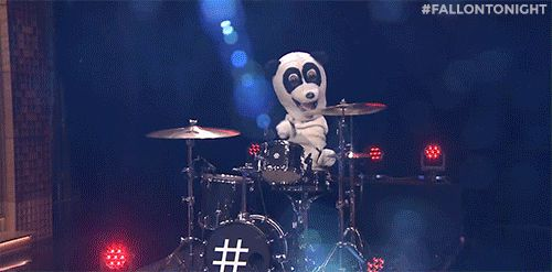 Hashtag the Panda takes a break from dancing to show off his drumming skills!
