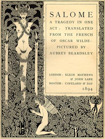 Frontispiece from Salomé by Oscar Wilde, illustrated by Aubrey Beardsley, 1894 (reworked drawing without penis)
