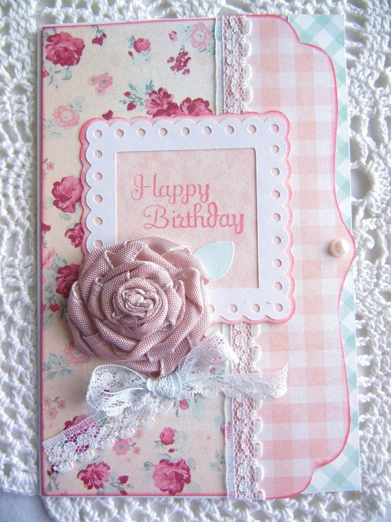 Shabby chic birthday card with ribbon rose