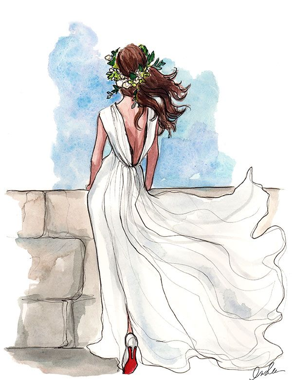 39 best fashion drawing images on pinterest boho chic Wedding dress illustration