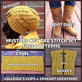 Awesome set of free patterns for women: slouch hat, boot cuffs, cowl and fingerless gloves. #FreeCrochetPattern #CalleighsClips