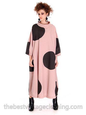 Vintage Vuokko Nurmesniemi Polka Dot Dress Huge Mod 1970s M
