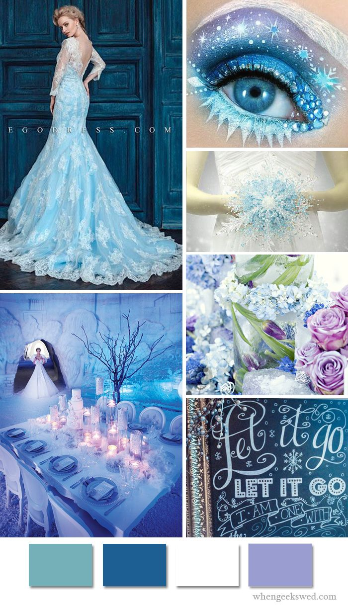 Disney's Frozen Elsa Wedding Inspiration Board. See When Geek's Wed's Board for more inspiration! http://www.pinterest.com/whengeekswed/frozen-wedding/