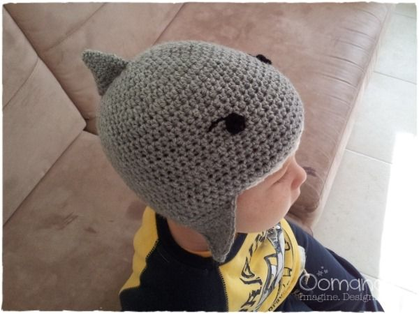 Shark Hat Pattern Is For A 5 Year Old But Can Be Adjusted