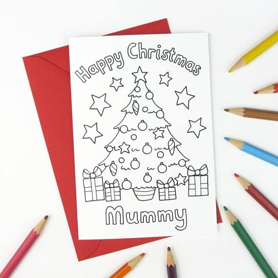 Happy Christmas Mummy  Printable Colour in Card - Christmas tree design, hand drawn by Hazel Fisher Creations.  This card is available as Instant Download from hfcSupplies Etsy.  It is also available for other recipients including Daddy, Mommy, Grandad, Grandma, Teacher, blank for you to write your own on or with a custom name of your choice!