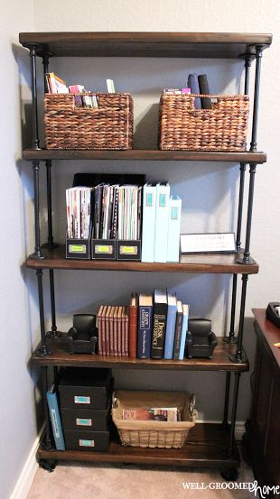 "Industrial pipe shelving is currently all the rage! Check out this tutorial by Amanda Michelle from Well-Groomed Home on how to create an <a href=""http://wellgroomedhome.com/2014/02/industrial-pipe-bookcase.html"" target=""_blank"">Industrial Pipe Bookcase</a>."