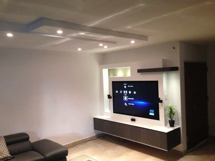 Wall unit gypsum board and custom wood cabinet family for Drywall designs living room