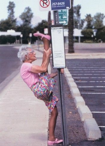 Some seniors prefer to keep themselves fit while waiting at transit stops..