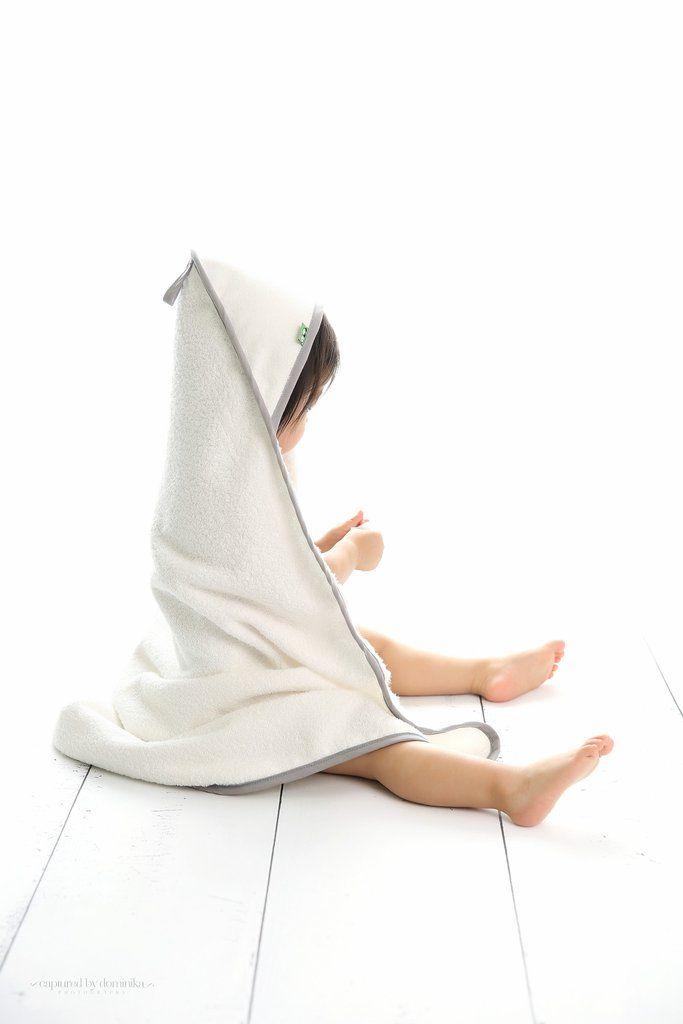 Incredibly soft Organic Classic Hooded Towel-Pebble Grey by bamboobino.