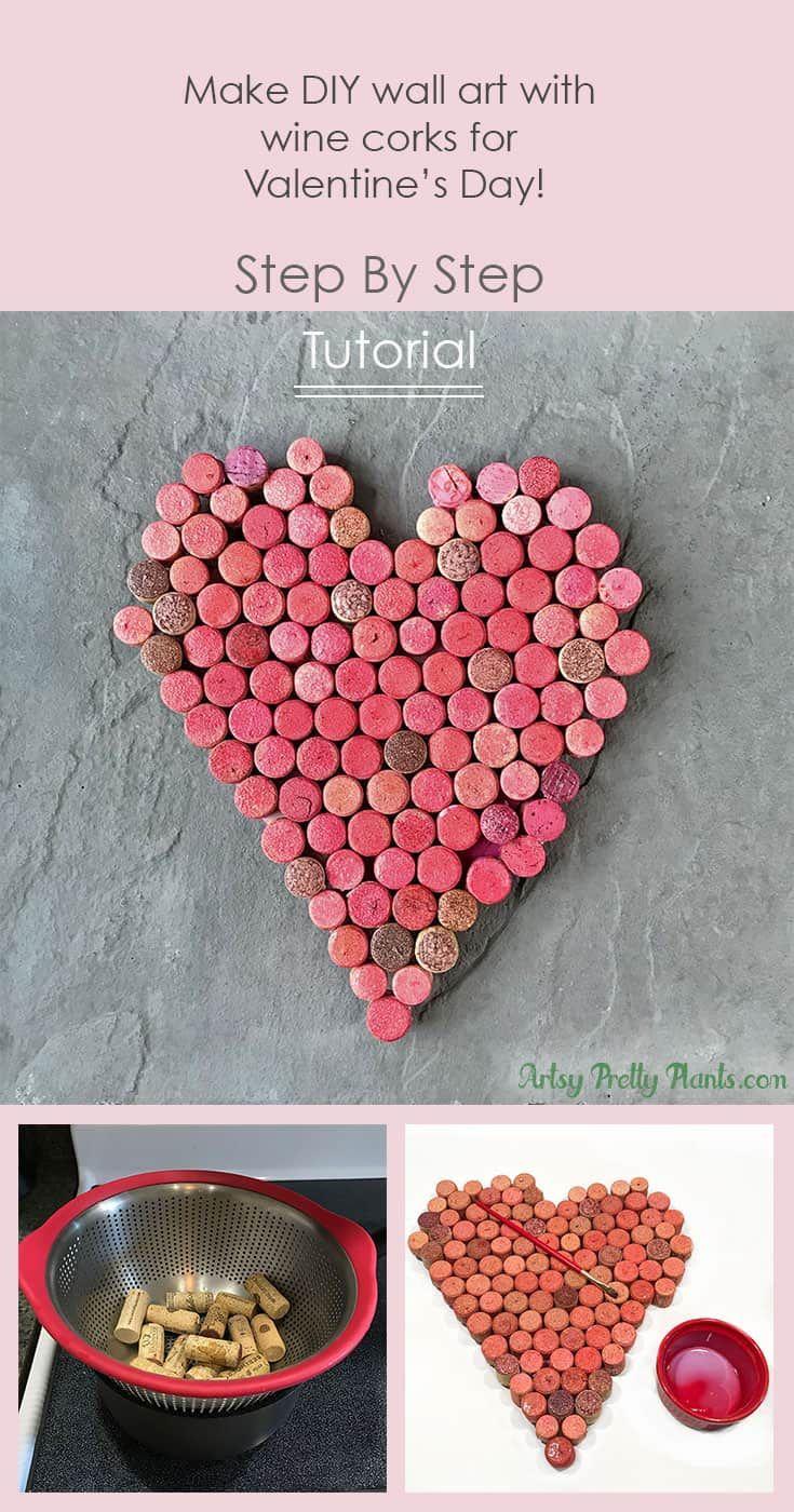 Wine Cork Wall Art For Valentine S Day In 2020 Wine Cork Diy Crafts Wine Cork Wine Cork Diy