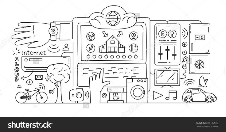 Line style design concept of internet of things data technology, network infrastructure of connecting everything