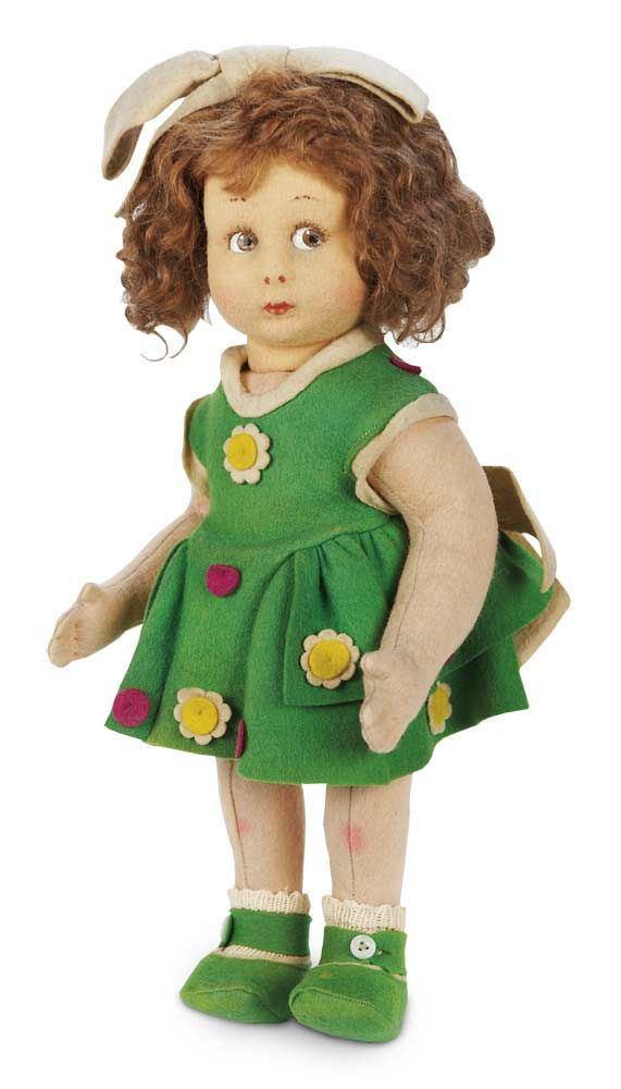 Character Girl by Lenci,Model 111,in Felt Costume with 1923 Silver Lenci Button