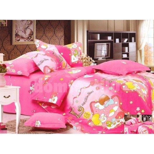 Obliečky na detskú posteľ ružové s anjelmi