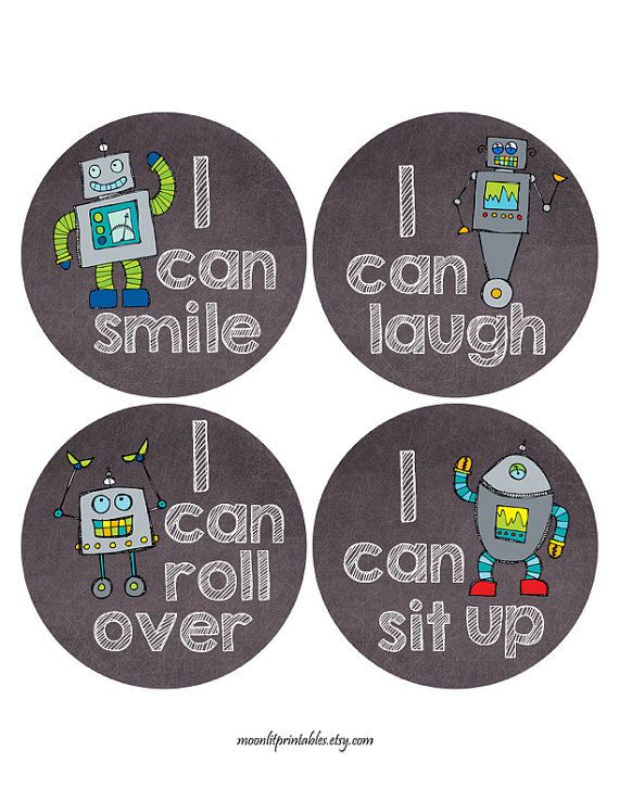 Robot milestone stickers robot baby stickers baby photo props chalkboard monthly baby stickers i can just born stickers 128