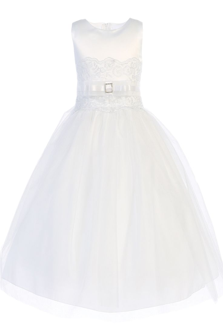 NEW - Floral Embroidery, White Satin & Tulle First Holy Communion Dress (Girls Sizes 5 to 14 & Plus Sizes)