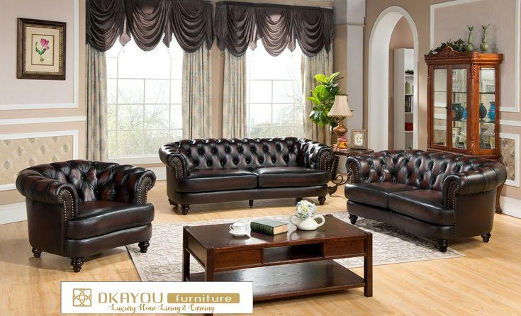 Set Sofa Tamu Mewah Modern Chesterfield Terbaru