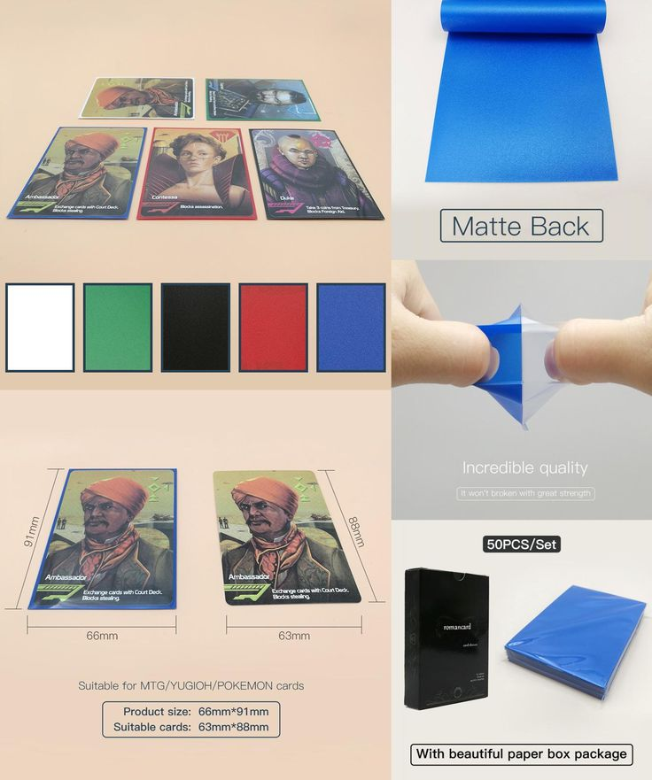 [Visit to Buy] 50pcs/set multi color card sleeves 66*91mm card protector holder for mtg yugioh pokemon 88*63mm cards board game #Advertisement