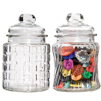 Lovely candy jars seal tight to keep the contents fresh. 3x3.5-in. jars with 2-in. openings come assorted between 2 different textured styles, and each includes a 2-in. tall lid with rubber grommets f