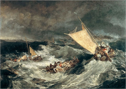 The Shipwreck, 1805, oil on canvas is by Joseph Mallord William Turner, 1775-1851, English Romantic landscape painter, watercolorist and printmaker.