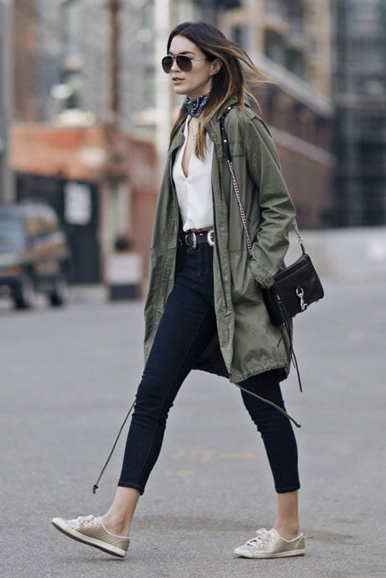 fall / winter - street style - street chic style - fall fashion - winter fashion - fall outfits - winter outfits - spring fashion - spring outfits - casual outfits - boho chic outfits - festival outfits - military green utility parka, white v-neck crop top, black bandana, aviator sunglasses, crop jeans, golden sneakers, black shoulder bag, black western belt