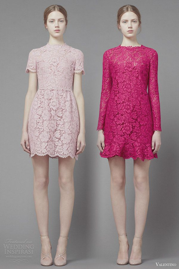 valentino fall 2013 2014 ready to wear short lace dresses sleeves pink fuschia