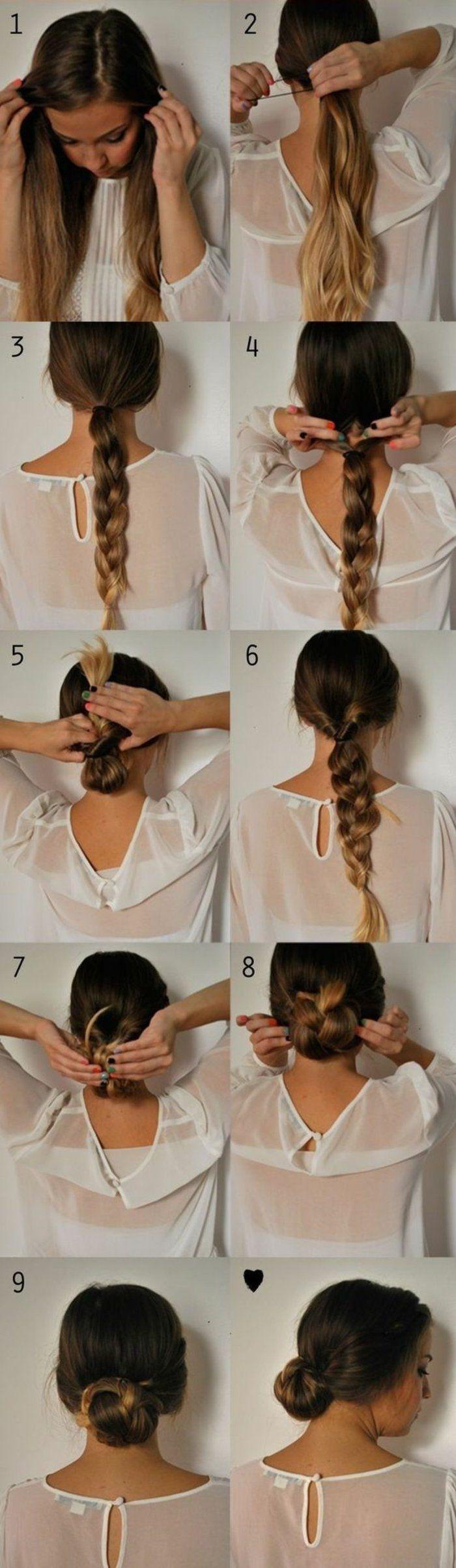 coiffure avec tresse, tuto très utile pour faire une chignon tressé facile et sympa