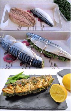 Fresh mackerel fillets stuffed with samphire, anchovy and breadcrumb mix, grilled and served with parsley butter.