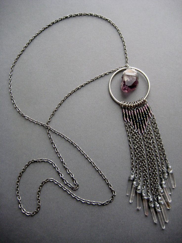 Keeper of the Portal Raw Amethyst Long Tribal by AuroraShadow, $78.00